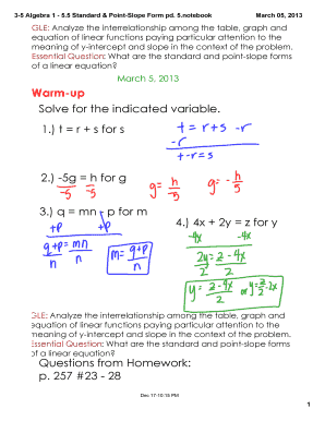 point slope form 3 variables  Fillable Online 9-9 Algebra 9 - 9.9 Standard & Point-Slope ...