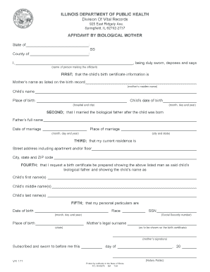 Affidavit by Biological Mother - Illinois Department of Public Health - idph state il