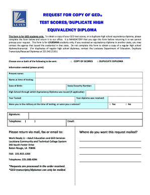 Fillable Online lctcs Request for Copy of GED Form - Louisiana ...