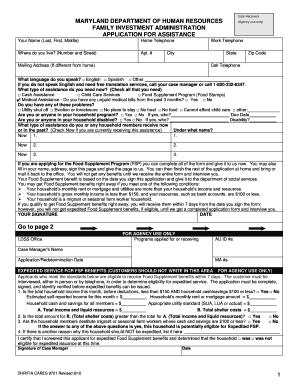 Maryland Food Stamps Application Form