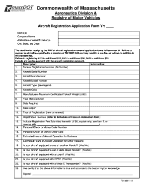 Aircraft Registration Application Form - Registry of Motor Vehicles - massdot state ma