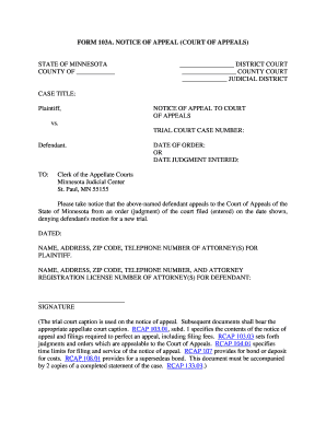 Fillable Online mncourts Form 103a. notice of appeal - Minnesota ...