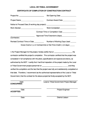 Roofing Certificate Of Completion Template  Blank Construction Contract
