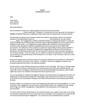 Engagement Letter - the Nevada State Board of Accountancy