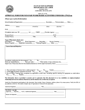 example of approval form for non paid work based activities nh