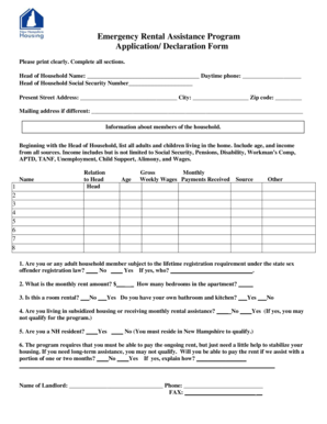 rate this form - Rental Assistance Form