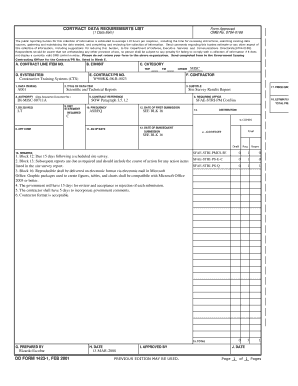Fillable Online CONTRACT DATA REQUIREMENTS LIST DD FORM 1423-1 ...