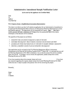 Fillable online cabq administrative amendment sample notification fill online spiritdancerdesigns Images