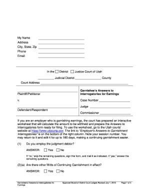 2010 Form UT Garnishee's Answers to Interrogatories for Earnings ...