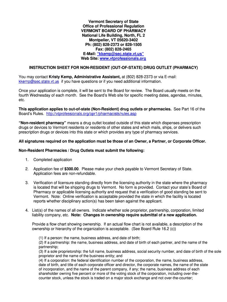 Vermont Board Of Pharmacy License Verification Fill Online Printable Fillable Blank Pdffiller