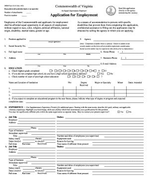 employment application form va job application