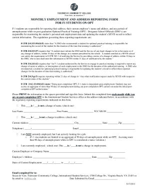 Fillable Online tcc Monthly employment and address reporting form ...