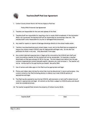 teacher agreement form