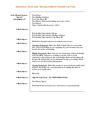 scholarship cover letter outline - Cover Letter Outline