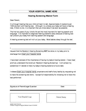 Sample waiver form - Seattle Children's - seattlechildrens