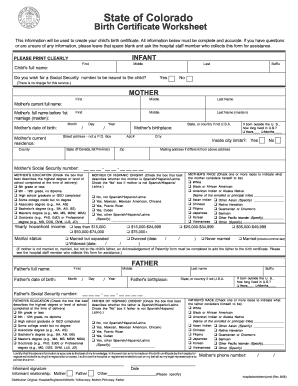Birth Certificate Worksheet