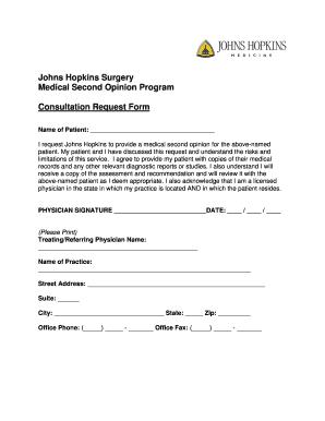 Fillable Online hopkinsmedicine Consultation Request Form - Johns ...
