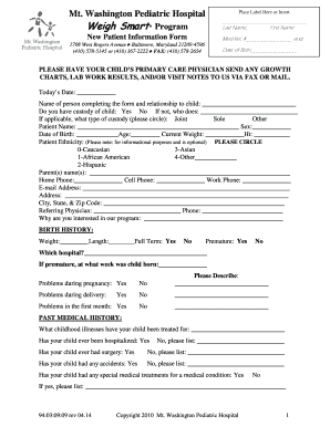 Weigh Smart Program New Patient Information Form - MWPH