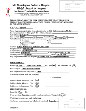 Sample Completed Form - Mt. Washington Pediatric Hospital - mwph