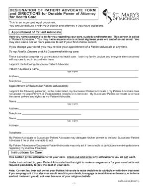 Bill Of Sale Form Michigan Designation Of Patient Advocate Durable ...
