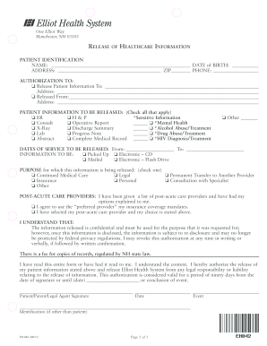 elliot hospital records resources form
