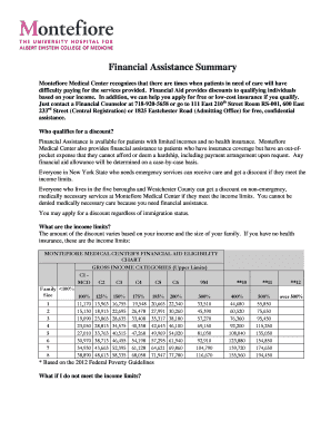 Fillable Online montefiore Financial Assistance Summary