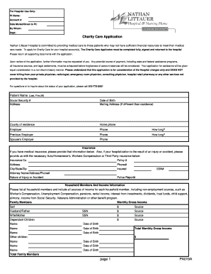 Fillable Online nlh Page 1 PA019A Charity Care Application ...