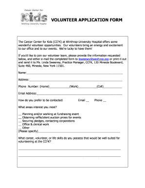 Winthrop Volunteer - Fill Online, Printable, Fillable, Blank ...
