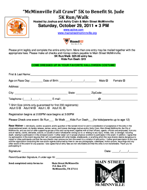 Printable 5k Registration Form