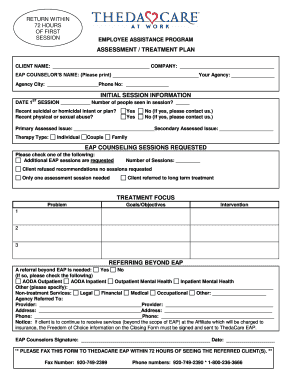 Assessment and Treatment Form - ThedaCare - thedacare
