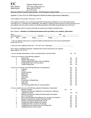 Cal Osha Respirator Medical Evaluation Questionnaire - Fill Online Osha Medical Forms on osha record keeping forms, osha safety forms, osha inspection forms, osha housekeeping forms,