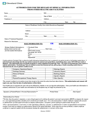 cleveland clinic medical authorization release form