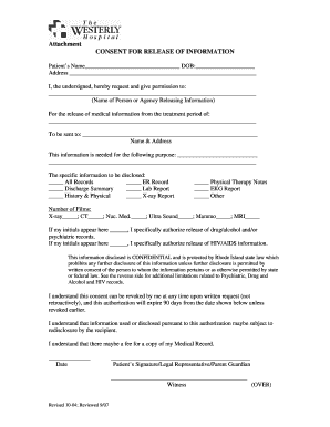 westerly hospital medical authorization form