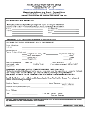 Massachusetts Form Nurse Aide Renewal - Fill Online, Printable ...