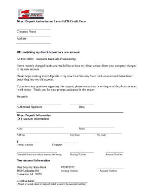 Fillable Online Direct Deposit Authorization Letter/ACH Credit