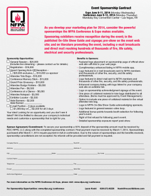 event sponsorship contract nfpa fill online printable fillable blank. Black Bedroom Furniture Sets. Home Design Ideas