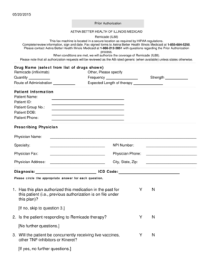 Fillable Online Prior Authorization Criteria Form - Aetna Better ...