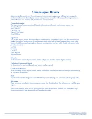 Fillable Online hr fiu Chronological Resume - Florida International ...