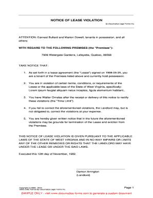 notice of lease violation documatica formscom fill online