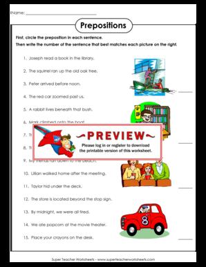 Fillable Online Prepositions - Super Teacher Worksheets Fax Email ...