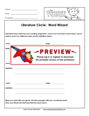 Fillable Online Literature Circle Word Wizard - Super Teacher ...