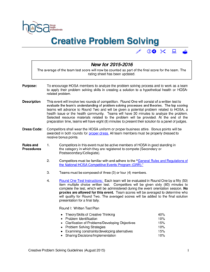 hosa creative problem solving event guidelines