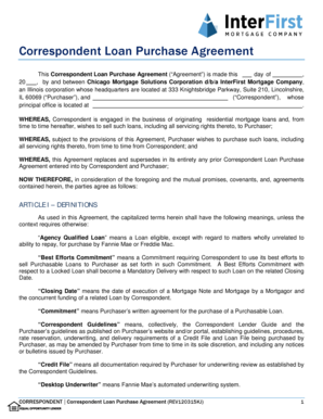 Correspondent Loan Purchase Agreement - interfirst