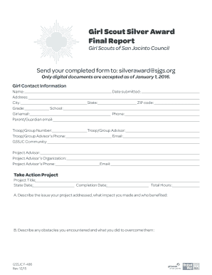Fillable Online gssjc Girl Scout Silver Award Final Report ...