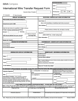 Fillable Online International Wire Transfer Request Form