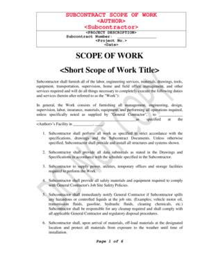 subcontractor scope of work template - sample scope of work forms and templates fillable