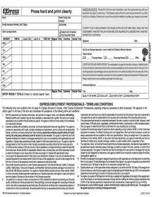 express professionals time card 2014-2018  form