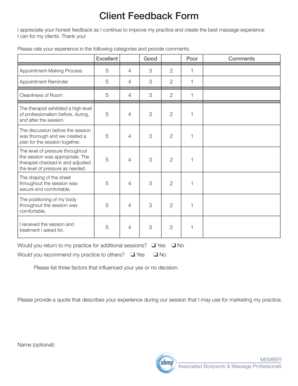 Fillable Online Client Feedback Form