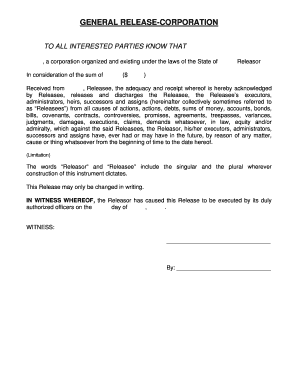 Editable general release form new york - Fillable & Printable ...