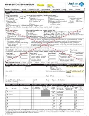 Fillable Online lbcc Anthem Blue Cross Enrollment Form ...